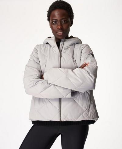 Pioneer Quilted Puffer Jacket, Silver | Sweaty Betty