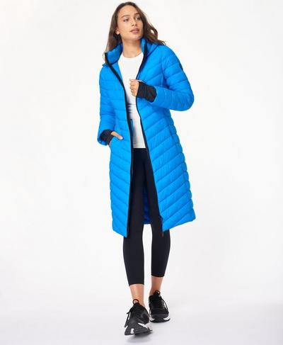 Traverse Long Puffer Jacket, Electric Blue | Sweaty Betty