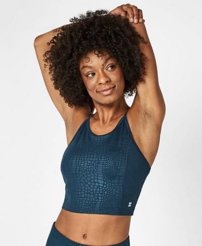 Contour Cropped Workout Vest, Blue Embossed Croc Print | Sweaty Betty