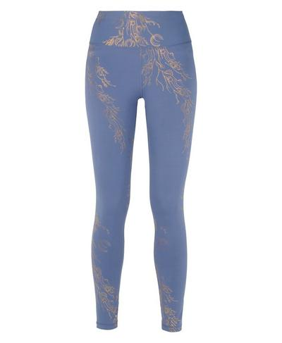 Goddess Foil Gym Leggings, Crown Blue Bronze Foil Print | Sweaty Betty