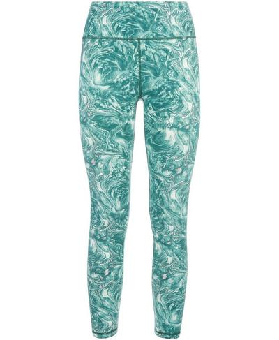 Goddess Foil 7/8 Workout Leggings, Pale Aqua Green Water Print | Sweaty Betty