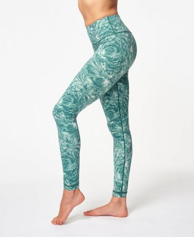 Goddess Foil Gym Leggings, Pale Aqua Green Water Print | Sweaty Betty