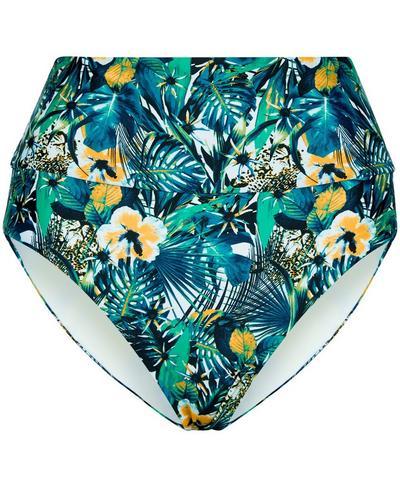 Tide High Waisted Bikini Bottoms, Green Hibiscus Floral Print   Sweaty Betty