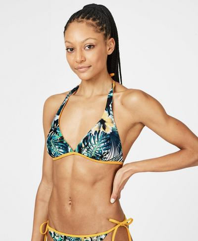 Reversible Triangle Swim Bikini Top, Green Hibiscus Floral Print | Sweaty Betty