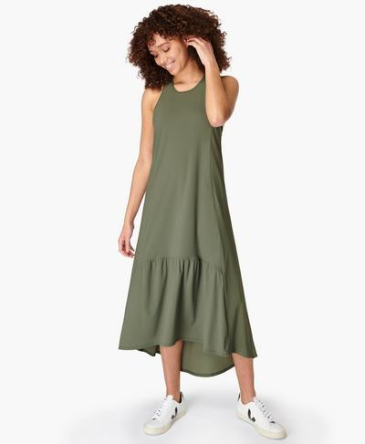 Explorer Ace Midi Dress, Heath Green | Sweaty Betty