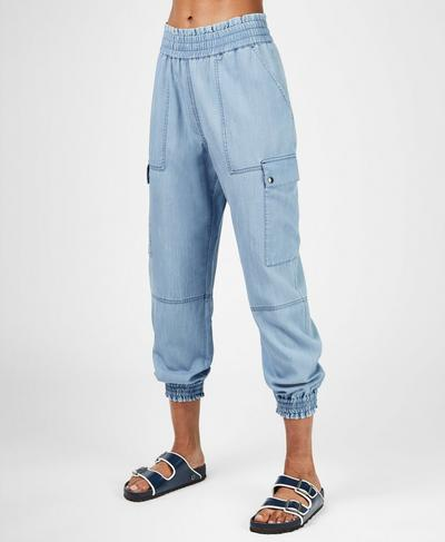 Iris 7/8 Cargo Trousers, Chambray Blue | Sweaty Betty