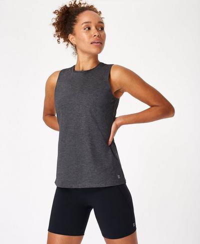 Endurance Running Vest, Black Marl   Sweaty Betty