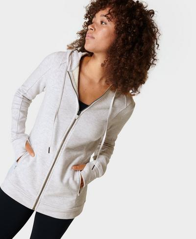 Warm Up Lightweight Zip Through Hoody, White | Sweaty Betty