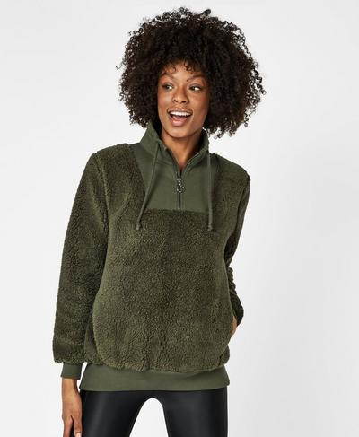 Sherpa Half Zip Sweater, Dark Forest | Sweaty Betty