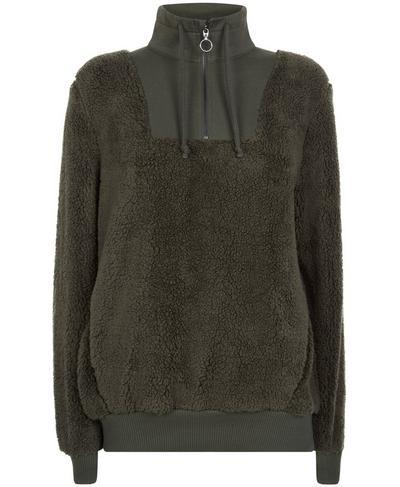 Sherpa Half Zip Sweater, Dark Forest | Sweaty Betty