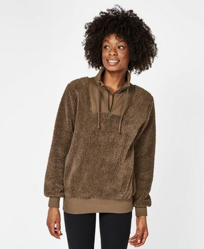 Sherpa Half Zip Sweater, Dark Taupe | Sweaty Betty