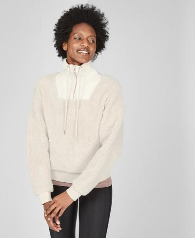 Shearling Half Zip Sweatshirt, Off White | Sweaty Betty