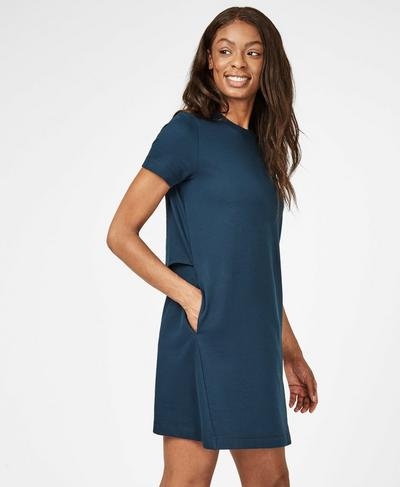 Meditate Mini Dress, Beetle Blue | Sweaty Betty