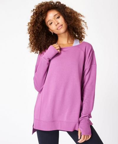 After Class Sport Sweatshirt, Argyle Purple Marl | Sweaty Betty