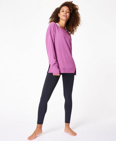 After Class Sport Jumper, Argyle Purple Marl | Sweaty Betty