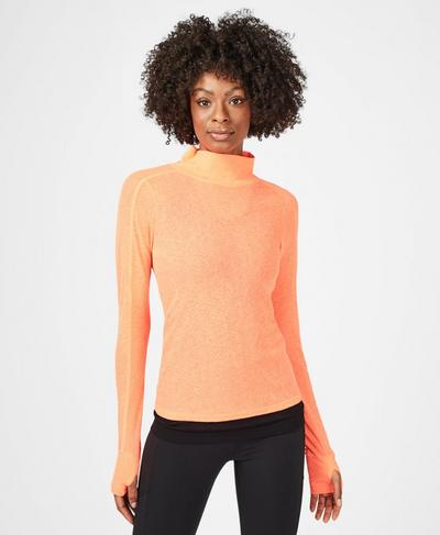 Mesh Long Sleeve Workout Top, Fluro Flash Pink | Sweaty Betty