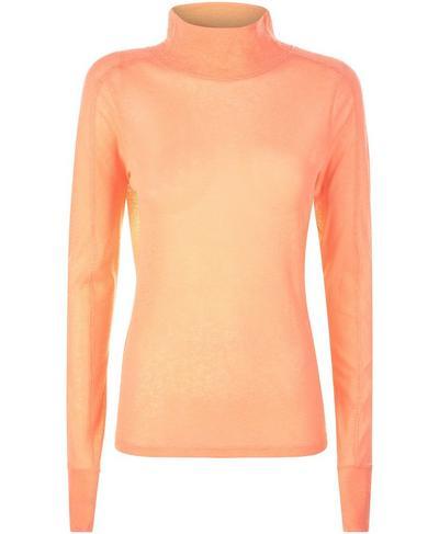 Mesh Long Sleeve Workout Top, Fluro Flash Pink   Sweaty Betty