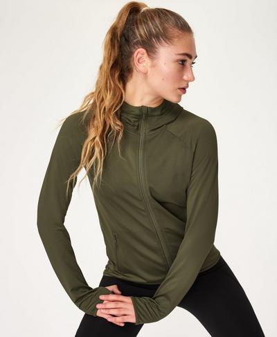 Conniston Zip Through Hoody, Olive | Sweaty Betty