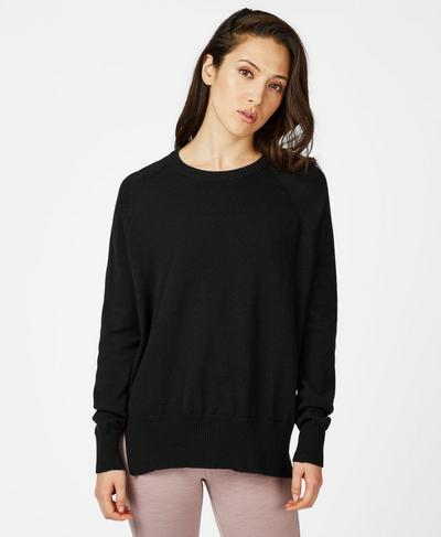 Hoxton Merino Crew Neck Jumper, Black | Sweaty Betty