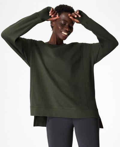 After Class Jumper, Dark Forest Green | Sweaty Betty