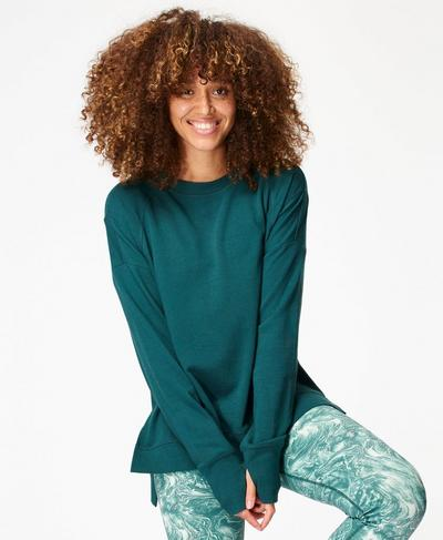 Simhasana Sweatshirt, June Bug Green | Sweaty Betty