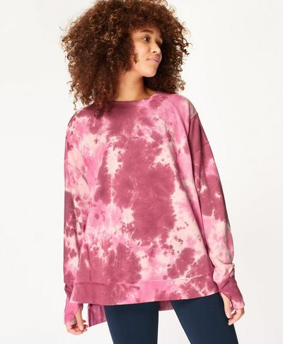 After Class Jumper, Pink Tie Dye Print | Sweaty Betty