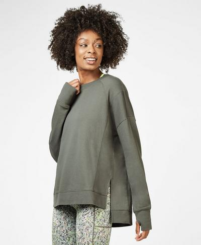 Simhasana Sweatshirt, Sage Green | Sweaty Betty