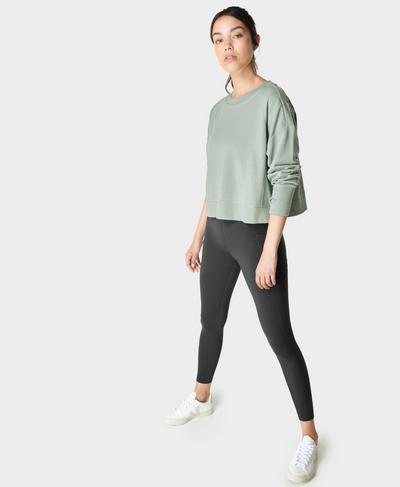 After Class Crop Sweatshirt, Mirage Green | Sweaty Betty