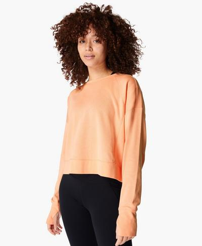 After Class Crop Jumper, Peach Orange | Sweaty Betty