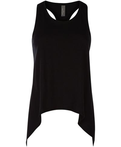 Handkerchief Hem Vest, Black | Sweaty Betty
