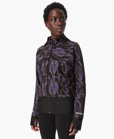 Fast Track Laufjacke, Black Abstract Scene Print | Sweaty Betty