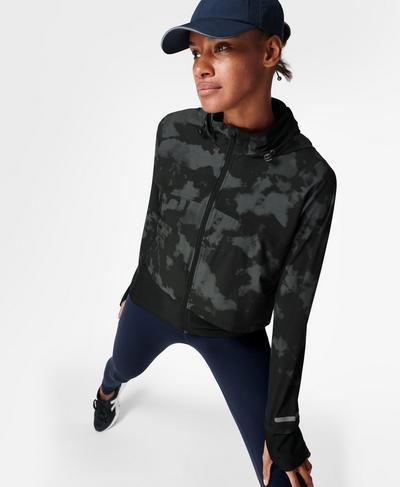 Fast Track Running Jacket, Black Fade Print | Sweaty Betty