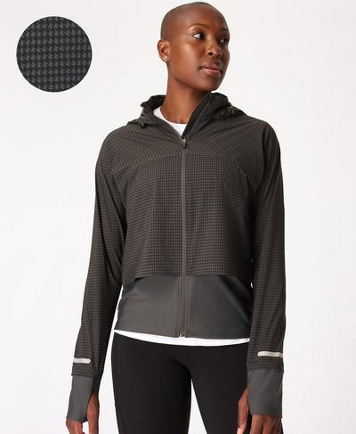Fast Track Running Jacket, Grey Houndstooth Print | Sweaty Betty