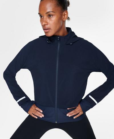 Fast Track Running Jacket, Navy Blue   Sweaty Betty