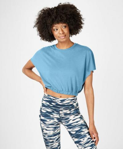 Peaceful Split T-Shirt, Stellar Blue | Sweaty Betty