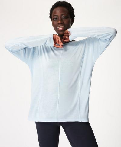 Exalt Long Sleeve Yoga Top, Air Blue | Sweaty Betty