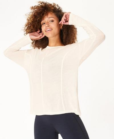 Exalt Long Sleeve Yoga Top, Lily White | Sweaty Betty