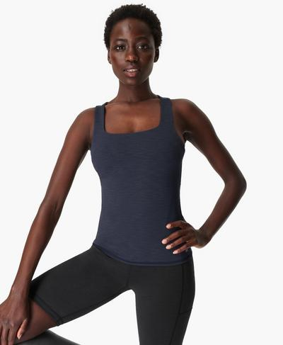 Super Sculpt Yoga Tank, Navy Blue | Sweaty Betty