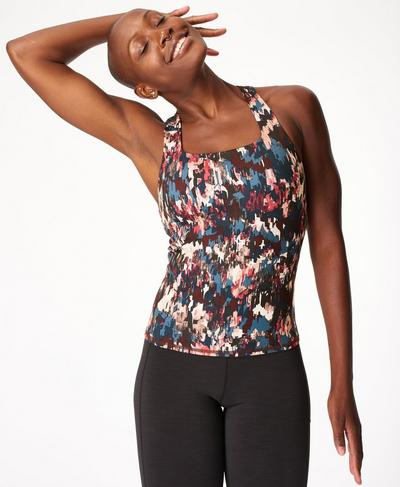 Super Sculpt Yoga Vest, Blue Abstract Floral Print | Sweaty Betty