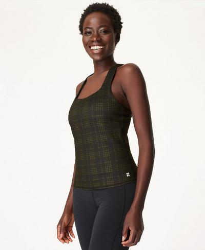 Super Sculpt Sustainable Yoga Tank, Green Check Print | Sweaty Betty