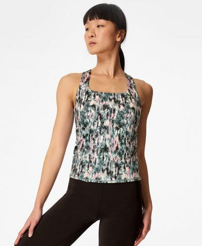 Super Sculpt Sustainable Yoga Vest, Blue Xray Floral Print | Sweaty Betty