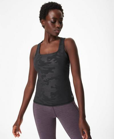 Super Sculpt Yoga Tank, Black Camo Embossed Print | Sweaty Betty