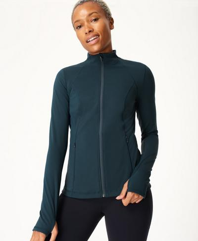 Power Workout Zip Through Jacket, Beetle Blue | Sweaty Betty