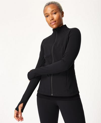 Power Gym Zip Through Jacket, Black | Sweaty Betty