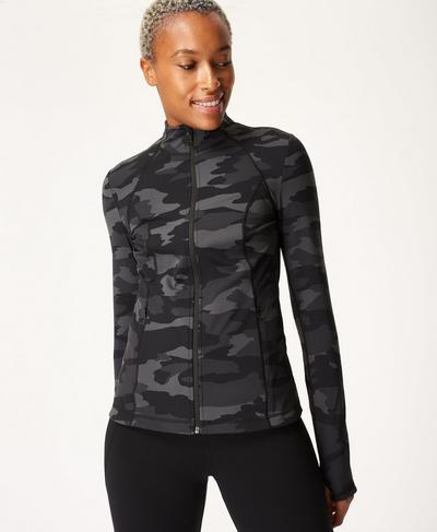 Power Workout Zip Through Jacket, Black Tonal Camo Print | Sweaty Betty