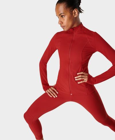 Power Fitness-Jacke mit Reißverschluss, Cardinal Red | Sweaty Betty