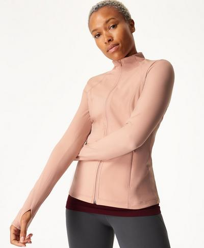 Power Gym Zip Through Jacket, Misty Rose Pink | Sweaty Betty