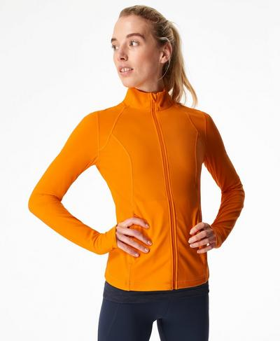 Power Gym Zip Through Jacket, Murcott Orange | Sweaty Betty
