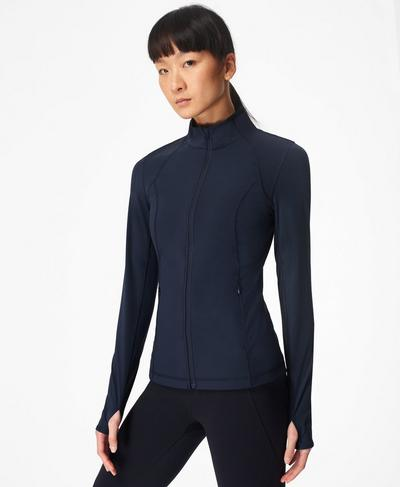 Power Workout Zip Through Jacket, Navy Blue | Sweaty Betty