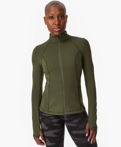 Power Gym Zip Through Jacket, Olive | Sweaty Betty